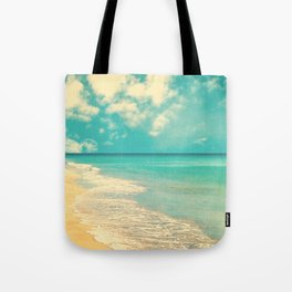 Waves of the sea (retro beach and blue sky) Tote Bag