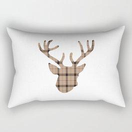 Plaid Deer Head: Brown Rectangular Pillow