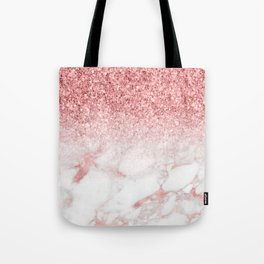 Rose-gold faux glitter and marble ombre Tote Bag
