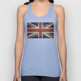 UK Flag, Dark grunge 3:5 scale Unisex Tank Top