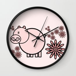 Pink pig in flowers Wall Clock