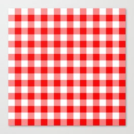 Jumbo Valentine Red Heart Rich Red and White Buffalo Check Plaid Canvas Print