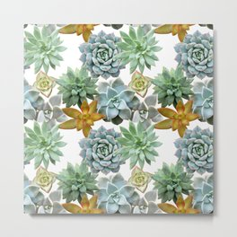 Succulent Pattern - Organic Botanics -  Nature Lover Succulent Mix for the Plant Lover Metal Print