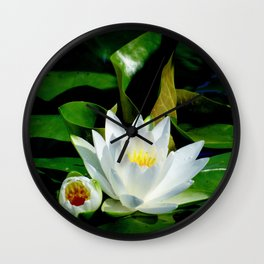White Water Lily and Bud in Pond Wall Clock