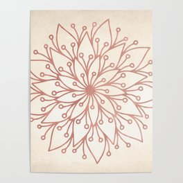 Mandala Rose Gold Petals on Cream Poster