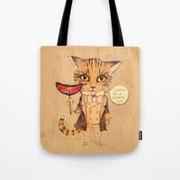 cheshire cat Tote Bags featuring Cheshire Cat by baba yagada