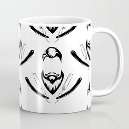 Manly Beard and Straight Razor Pattern Coffee Mug
