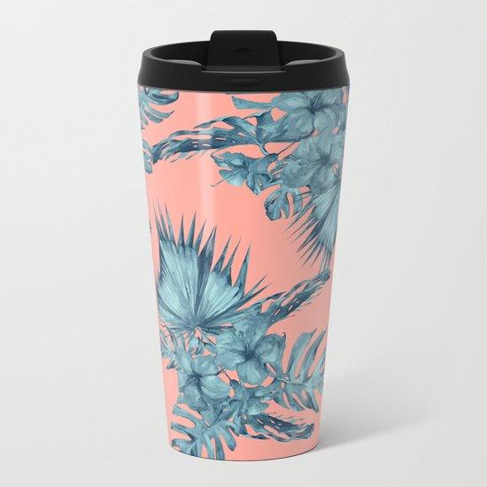 Dreaming of Hawaii Teal Blue on Coral Pink Metal Travel Mug