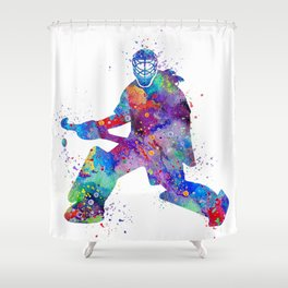 Girl Field Hockey Goalie Watercolor Print Sports Art Gifts Painting Home Decor Shower Curtain