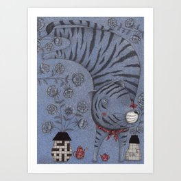 Tiger in the Garden Art Print