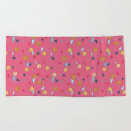 seashells and starfishes - pink Beach Towel