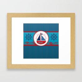 Cool Blue Sailboat Background Framed Art Print