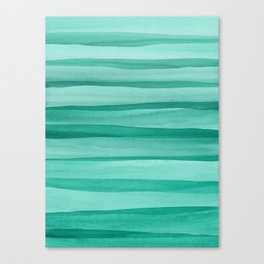 Green Watercolor Lines Pattern Canvas Print