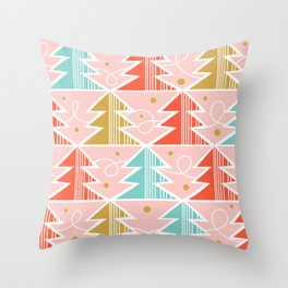 Trim A Tree - Christmas Pink Throw Pillow