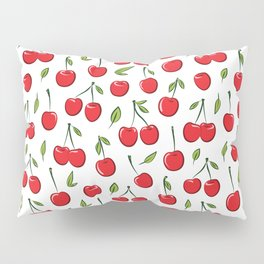Cheerful cherry pattern. Colorful cherries on white Pillow Sham