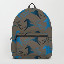 Blue Brown War Horse Backpack