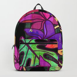 Tropical leaves and flowers, jungle print Backpack