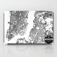 new york map iPad Cases featuring New York Map by Maps Factory