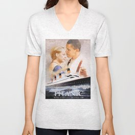 Obama and Merkel as Jack and Rose Unisex V-Neck
