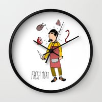 butcher billy Wall Clocks featuring Butcher by Crooked Stick