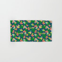 Henri's Garden in blue // tropical flora pattern Hand & Bath Towel