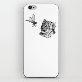 Snow leopard cub and dragonfy G148 iPhone Skin