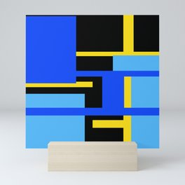 Rectangles - Blues, Yellow and Black Mini Art Print