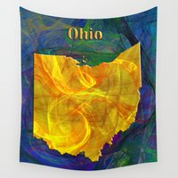 ohio Wall Tapestries featuring Ohio Map by Roger Wedegis