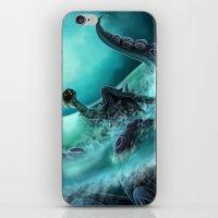 kraken iPhone & iPod Skins featuring Kraken by Zeynep Aktaş