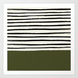Olive Green x Stripes Art Print