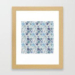 My Little Garden blue & green Framed Art Print