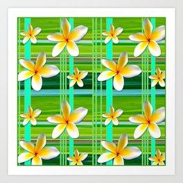 Plumaria Plaid Art Print