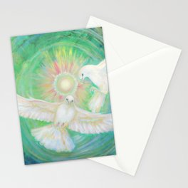 Doves, healing, green energy Stationery Cards