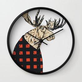 Flannel Moose Wall Clock