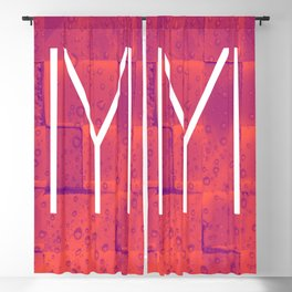 Ertugrul Kayi Tribe Flag Symbol against a red and pink background Blackout Curtain