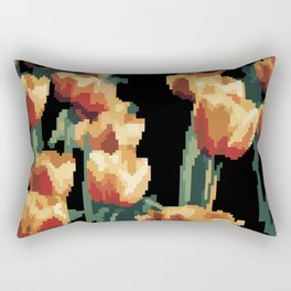 Orange tulips in pixel art style Rectangular Pillow