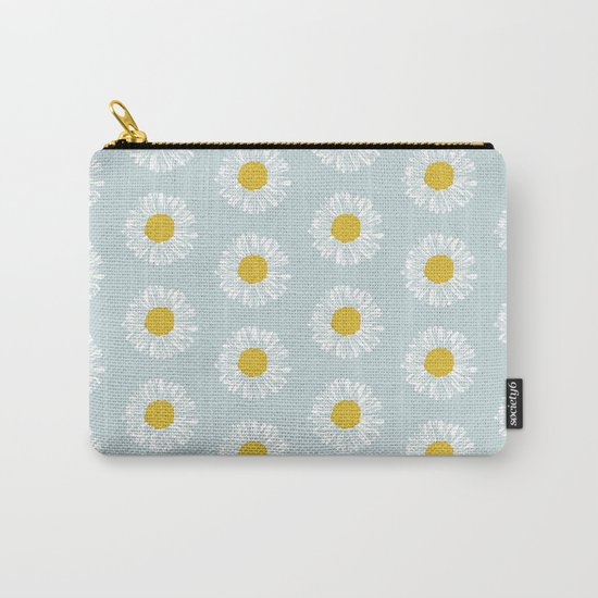 Daisy pattern basic flowers floral blossom botanical print charlotte winter Carry-All Pouch