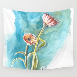 Blooms on Turquoise Wall Tapestry