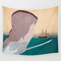 the whale Wall Tapestries featuring  WHALE by mark ashkenazi