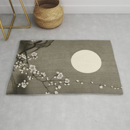 Blooming plum blossom at full moon (1900-1936) by Ohara Koson (1877-1945) Rug
