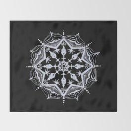 Snowflake on Black Throw Blanket
