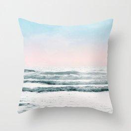 Pink Sky Ocean View Throw Pillow