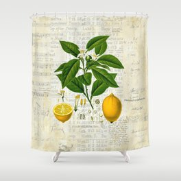 Lemon Botanical print on antique almanac collage Shower Curtain
