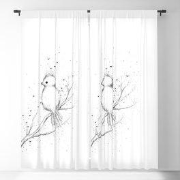 Little Bird Doodle Art Blackout Curtain
