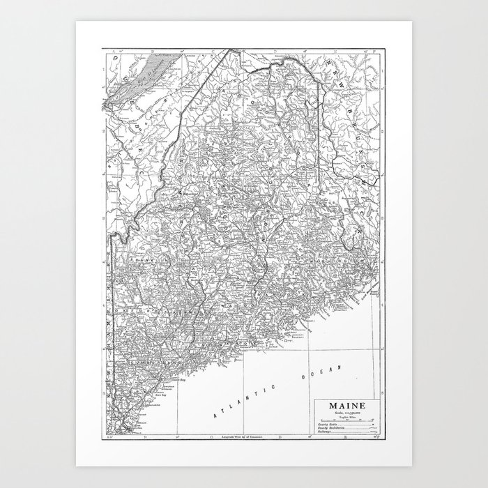graphic relating to Printable Map of Maine referred to as Basic Map of Maine (1911) Artwork Print via bravuramedia