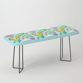 Birds Flowers and Rainbows Doodle Pattern Bench