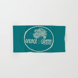 Village Green Bookstore Tan on Green Hand & Bath Towel