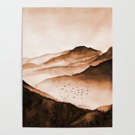 Mountains, watercolor Poster