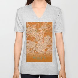Nicosia, Cyprus, Gold, Blue, City, Map Unisex V-Neck