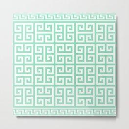 Greek Key (Mint & White Pattern) Metal Print